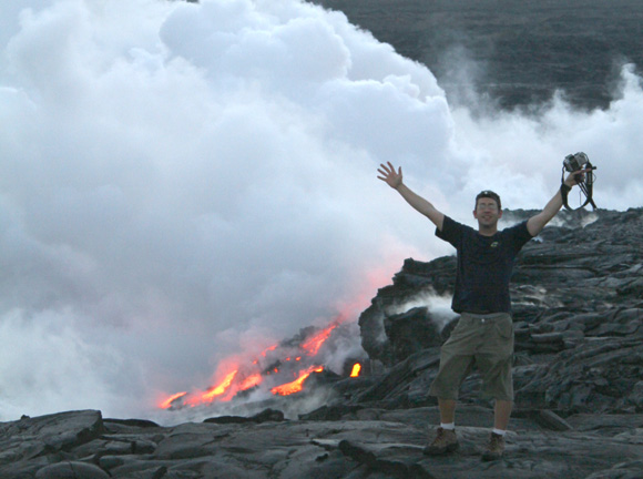 Ben Starr at the Kilaeua lava ocean entry