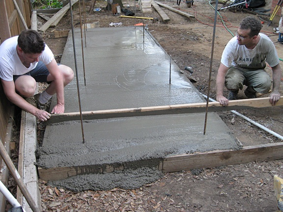 Pouring A Concrete Footing For An Outdoor Fireplace And Pizza Oven