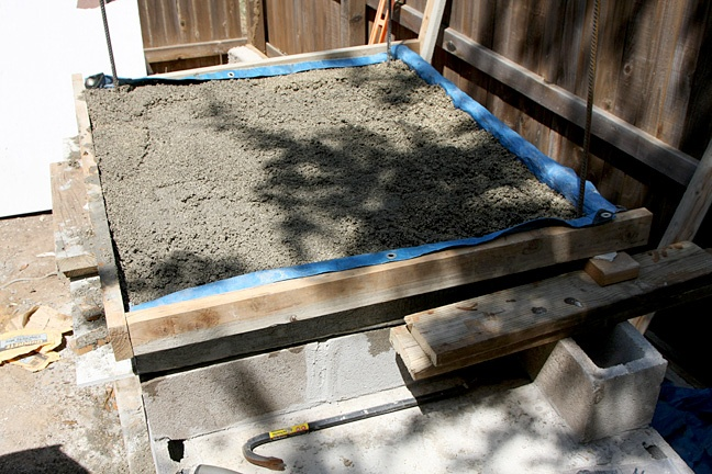 First layer of concrete foundation for a wood oven