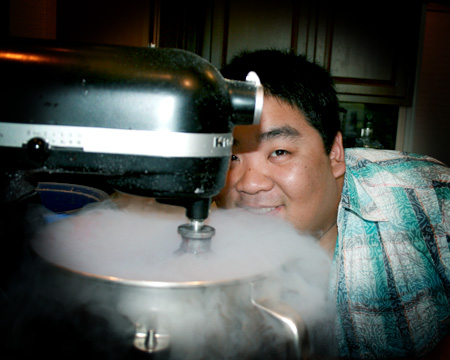 Alvin Schultz from MasterChef freezing sorbet with dry ice