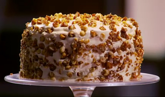 Ben Starr's Pumpkin Carrot Cake with Cream Cheese Frosting and Candied Hazelnuts from MasterChef season 2