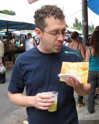 Ben Starr eats a Brazilian pastel