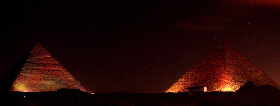 The Great Pyramids at night