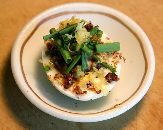 Deviled egg tartare: Beeman Ranch Akaushi tenderloin, 63 degree yolk, horseradish, caper, cornichon, ham salt