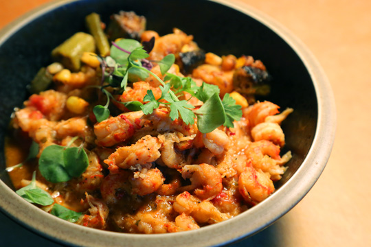 Crawfish Jambalaya with local succotash