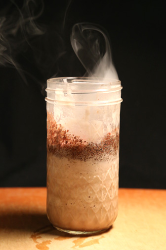 "Tobacco Chocolate Milkshake with bourbon, smoke, and ""ashes"""